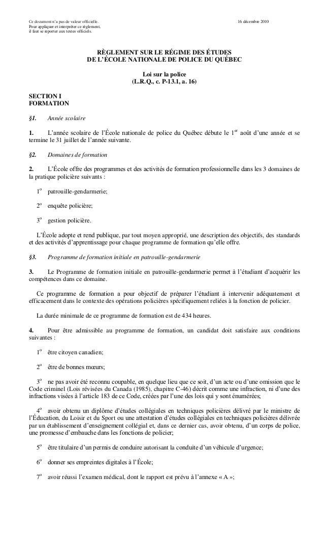 Ce document n'a pas de valeur officielle. Pour appliquer et interpréter ce règlement, il faut se reporter aux textes offic...
