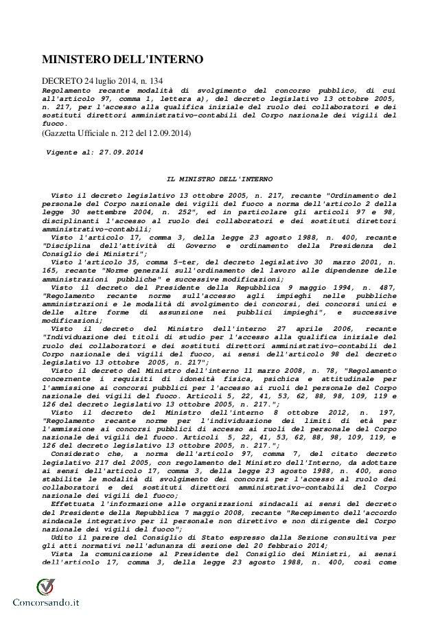 Regolamento concorso amministrativi vigili del fuoco for Ministero interno r