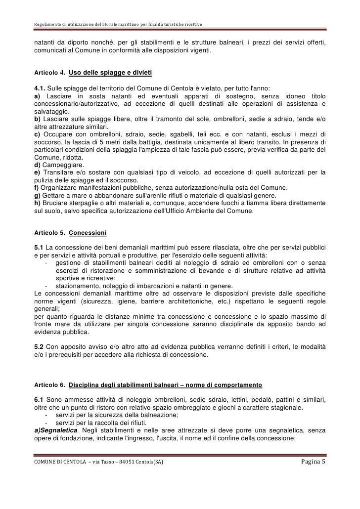 Noleggio Sdraio E Ombrelloni Normativa.Regolamento Demanio Marittimo 2012 Comune Di Centola