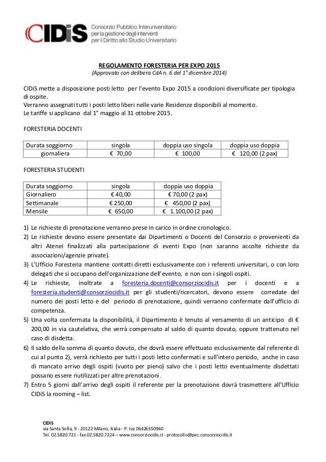 Regolamento foresteria per expo 2015 (1)