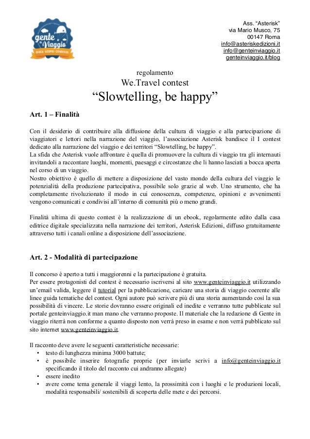 Slowtelling, be happy! Regolamento del contest