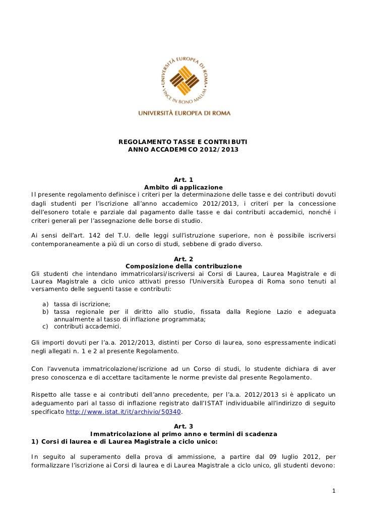 REGOLAMENTO TASSE E CONTRIBUTI                               ANNO ACCADEMICO 2012/2013                                    ...