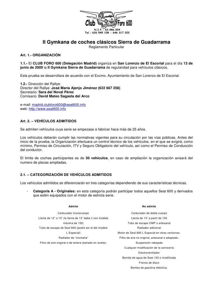 II Gymkana de coches clásicos Sierra de Guadarrama                                                     Reglamento Particul...
