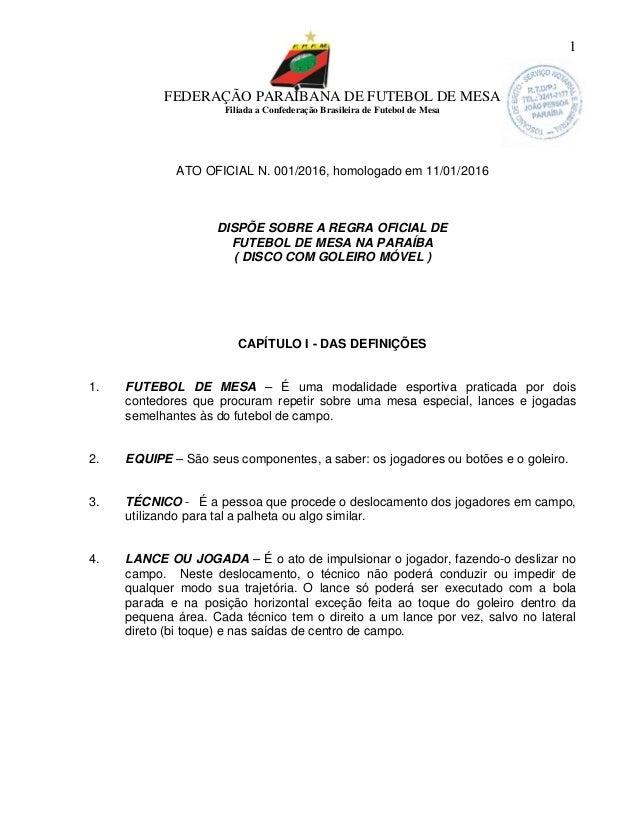FEDERAÇÃO PARAIBANA DE FUTEBOL DE MESA Filiada a Confederação Brasileira de Futebol de Mesa 1 ATO OFICIAL N. 001/2016, hom...