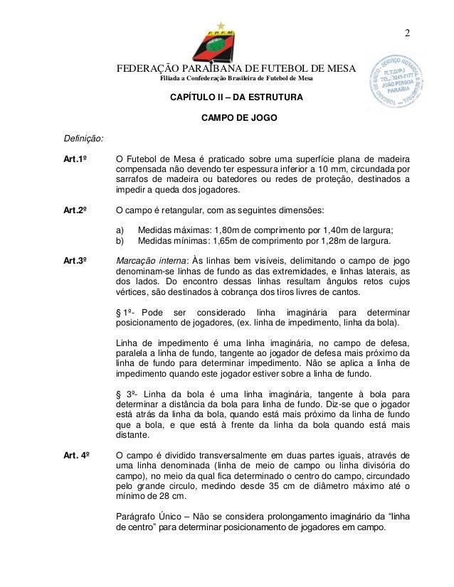 0043c4ad97 2. FEDERAÇÃO PARAIBANA DE FUTEBOL DE MESA Filiada a Confederação Brasileira  ...