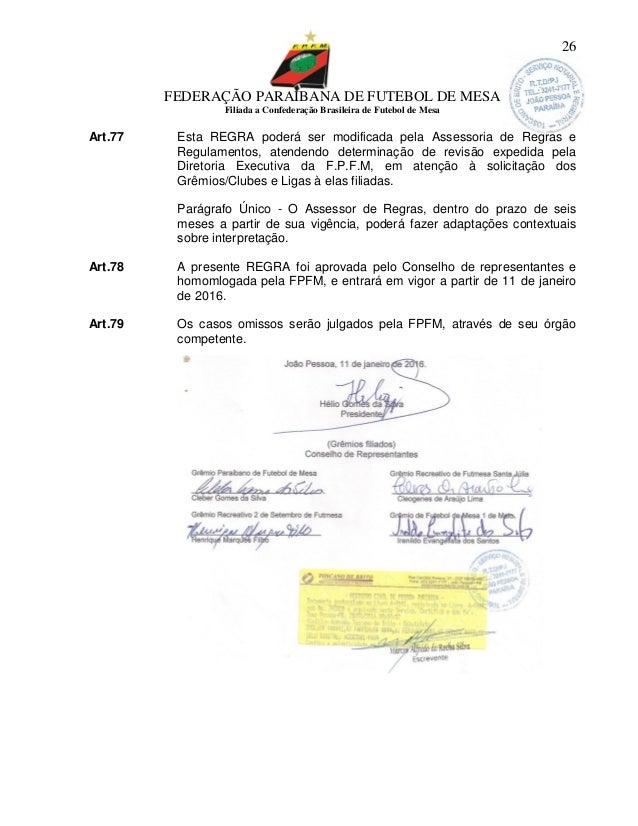 bbb61b9597 26. FEDERAÇÃO PARAIBANA DE FUTEBOL DE MESA Filiada a Confederação Brasileira  ...