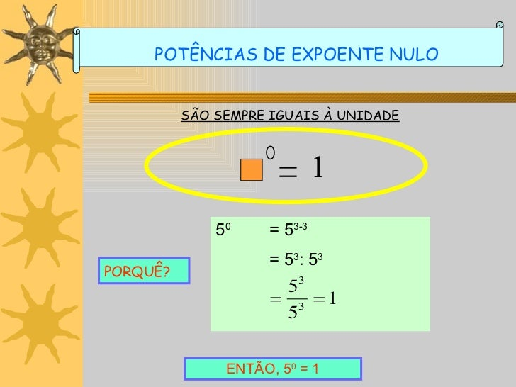 SÃO SEMPRE IGUAIS À UNIDADE PORQUÊ? ENTÃO, 5 0  = 1 POTÊNCIAS DE EXPOENTE NULO 1 5 0 = 5 3-3 = 5 3 : 5 3