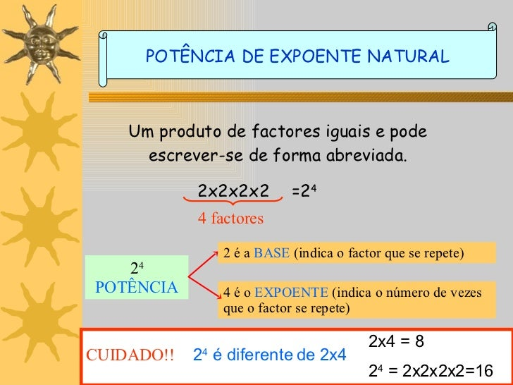 Um produto de factores iguais e pode escrever-se de forma abreviada. 2x2x2x2 =2 4 2 4 POTÊNCIA 2 é a  BASE  (indica o fact...