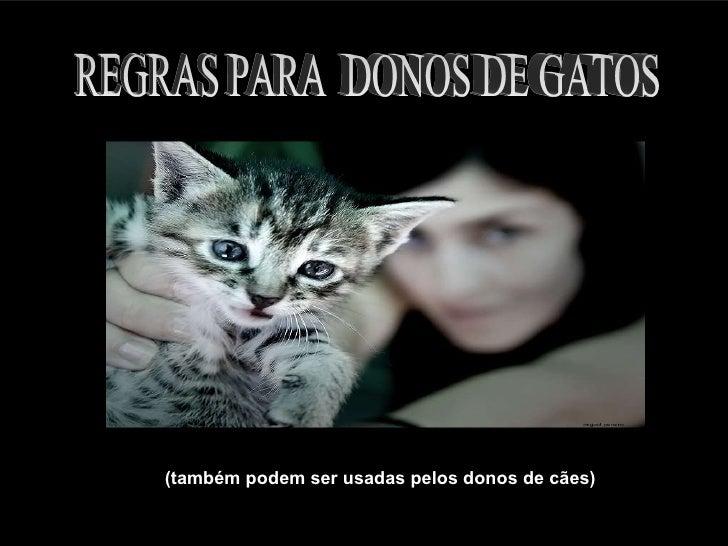 (também podem ser usadas pelos donos de cães) REGRAS PARA  DONOS DE GATOS
