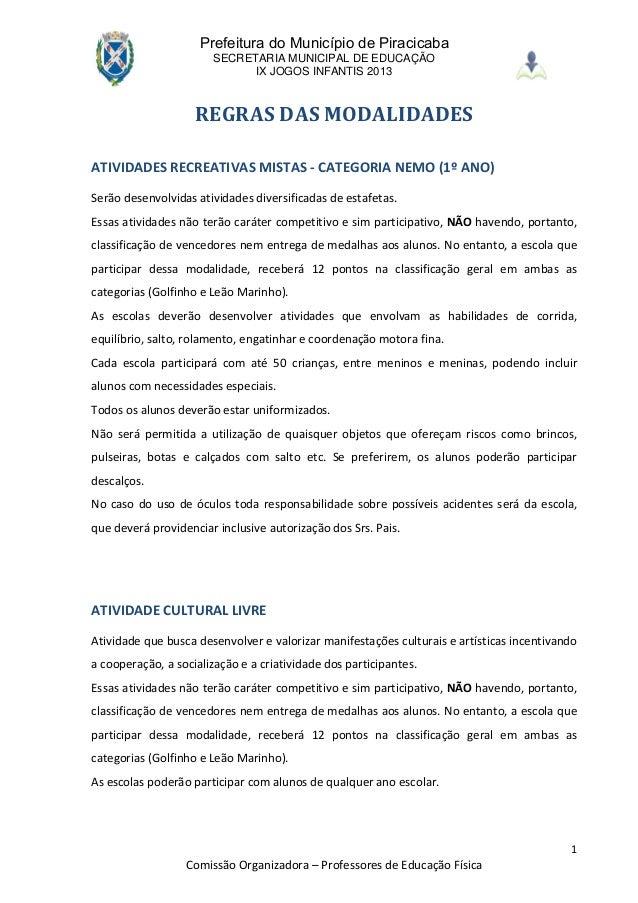 Prefeitura do Município de Piracicaba                       SECRETARIA MUNICIPAL DE EDUCAÇÃO                             I...