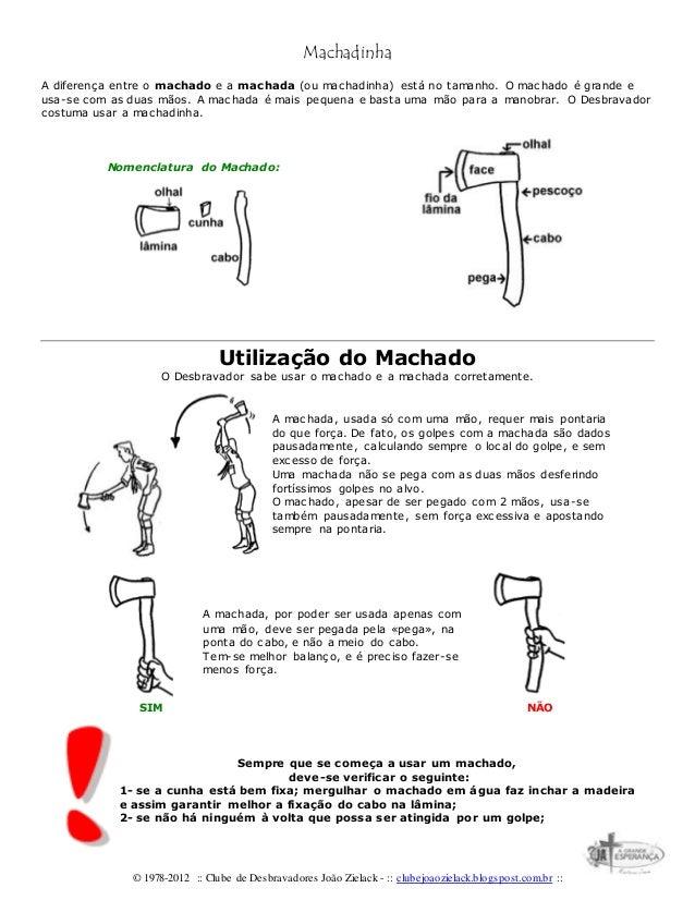 © 1978-2012 :: Clube de Desbravadores João Zielack - :: clubejoaozielack.blogspost.com.br :: Machadinha A diferença entre ...