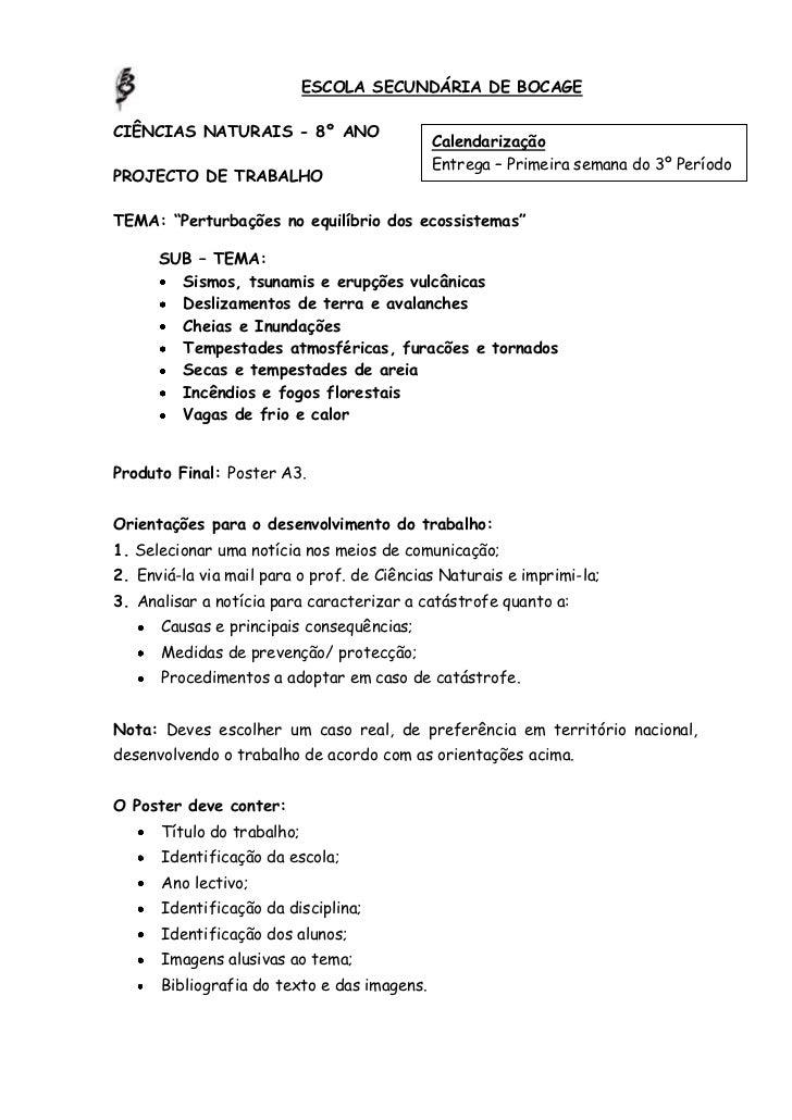 ESCOLA SECUNDÁRIA DE BOCAGECIÊNCIAS NATURAIS - 8º ANO                                             Calendarização          ...