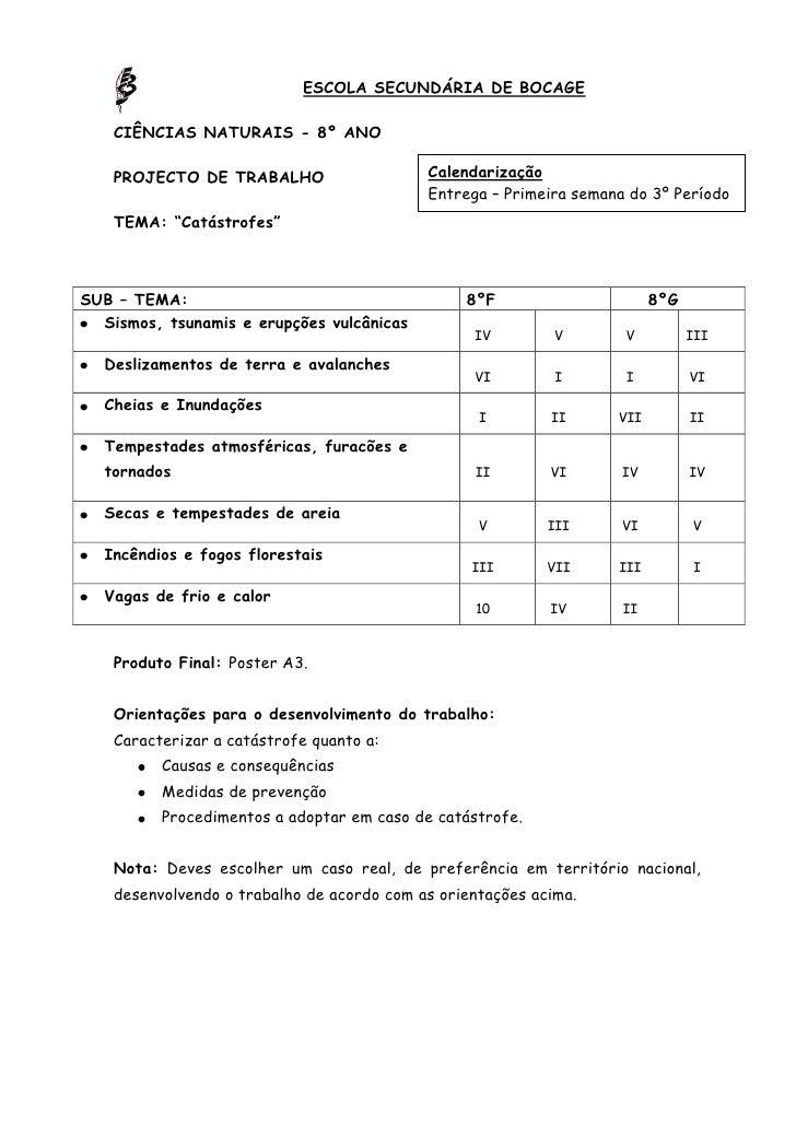 7620-88265ESCOLA SECUNDÁRIA DE BOCAGE<br />CIÊNCIAS NATURAIS - 8º ANO                            <br />CalendarizaçãoEntre...