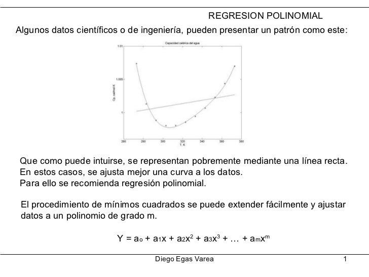Diego Egas Varea REGRESION POLINOMIAL Algunos datos científicos o de ingeniería, pueden presentar un patrón como este: Que...