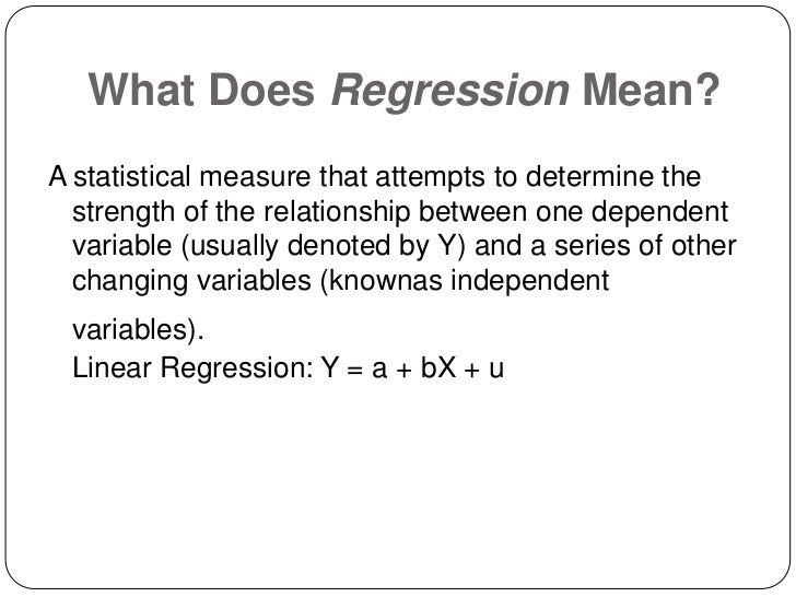 a regression analysis of the number Regression analysis is used when you want to predict a continuous dependent variable from a number of independent variables if the dependent variable is dichotomous, then logistic regression should be used.
