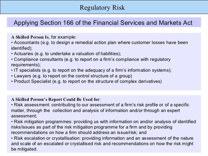 regulatory risks In response to the growing number of challenging requirements, kpmg frm team provides strategic and technical regulatory and compliance solutions to help banks, insurance companies, investment fund managers and enterprises, especially in the energy sector, anticipate and manage their regulatory risk in response to.