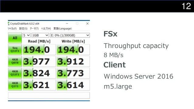 12 FSx Throughput capacity 8 MB/s Client Windows Server 2016 m5.large