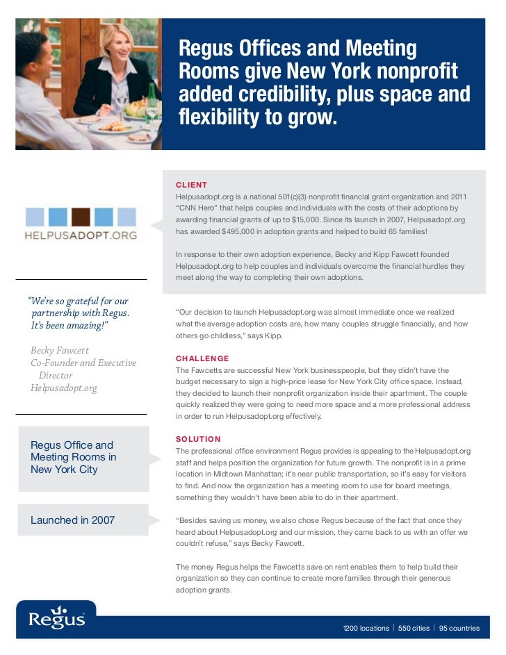 Regus Offices and Meeting                              Rooms give New York nonprofit                              added cr...