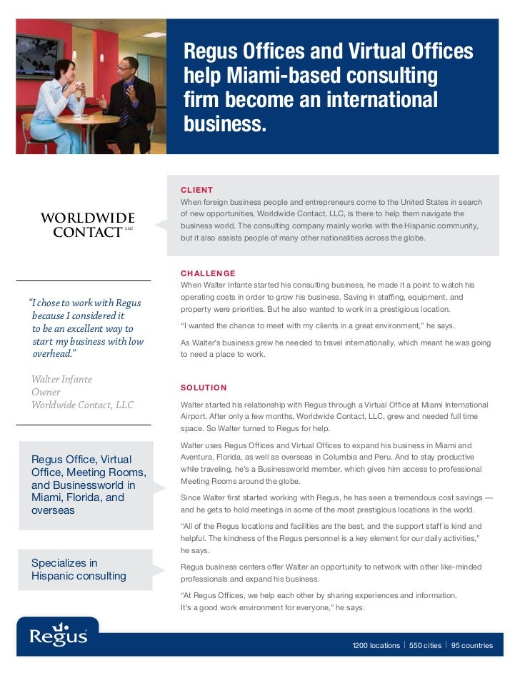 Regus Offices and Virtual Offices                               help Miami-based consulting                               ...