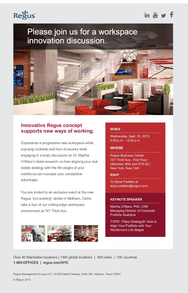 Innovative Regus concept supports new ways of working. Experience a progressive new workspace while enjoying cocktails and...