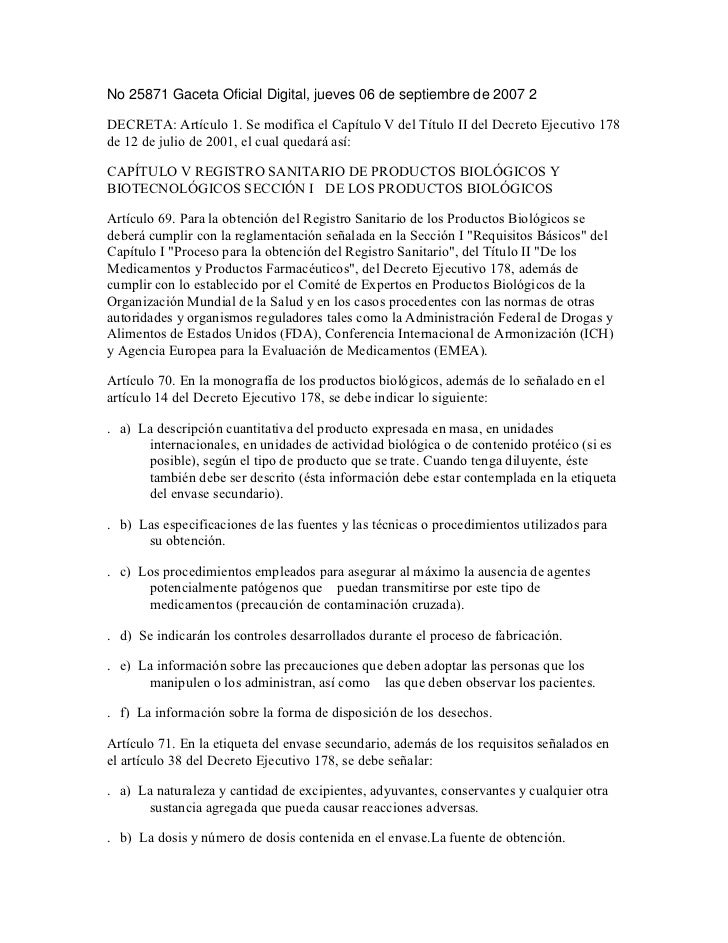 No 25871 Gaceta Oficial Digital, jueves 06 de septiembre de 2007 2DECRETA: Artículo 1. Se modifica el Capítulo V del Títul...