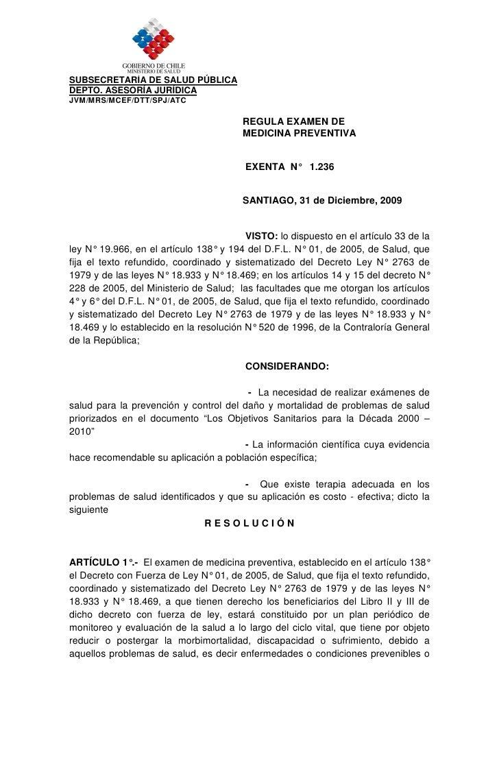 SUBSECRETARÍA DE SALUD PÚBLICA DEPTO. ASESORÍA JURÍDICA JVM/MRS/MCEF/DTT/SPJ/ATC                                          ...