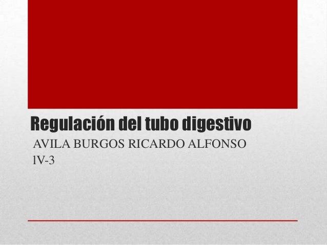 Regulación del tubo digestivoAVILA BURGOS RICARDO ALFONSOlV-3