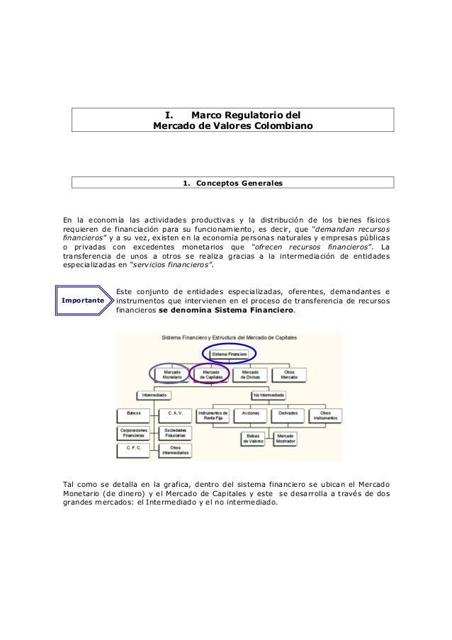 I.  Marco Regulatorio del                       Mercado de Valores Colombiano                               1. Conceptos G...