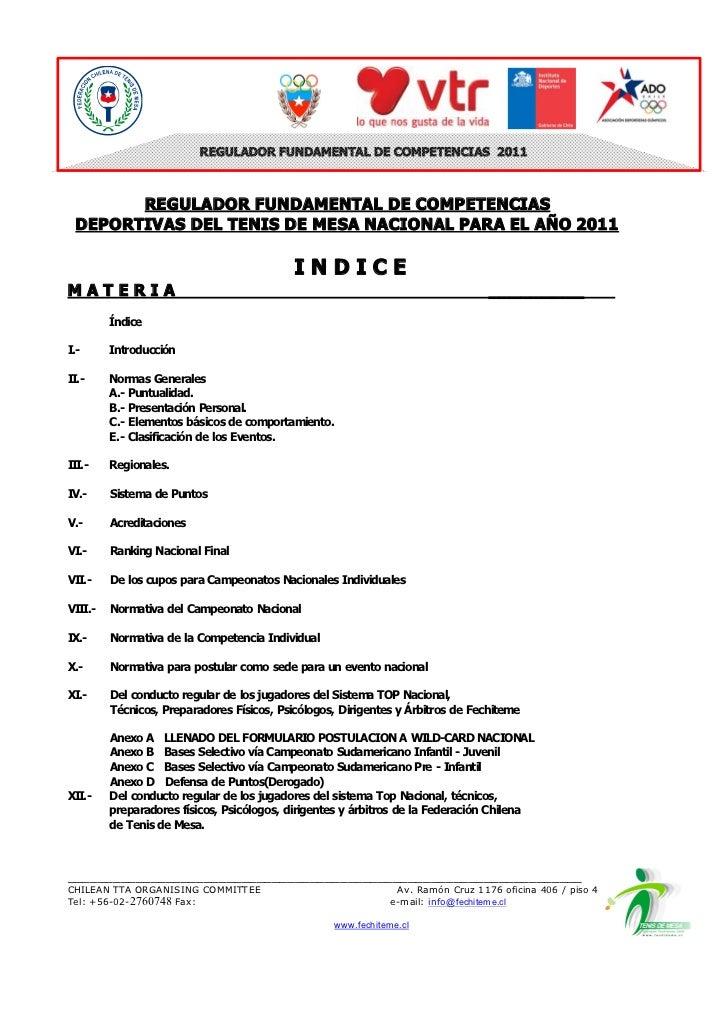 REGULADOR FUNDAMENTAL DE COMPETENCIAS  2011         REGULADOR FUNDAMENTAL DE COMPETENCIAS   DEPORTIVAS DEL TENIS DE MESA N...
