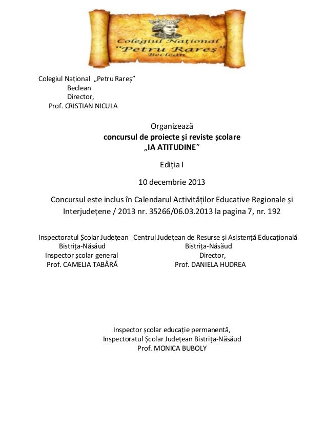 """Colegiul Național """"Petru Rareș"""" Beclean Director, Prof. CRISTIAN NICULA  Organizează concursul de proiecte și reviste școl..."""