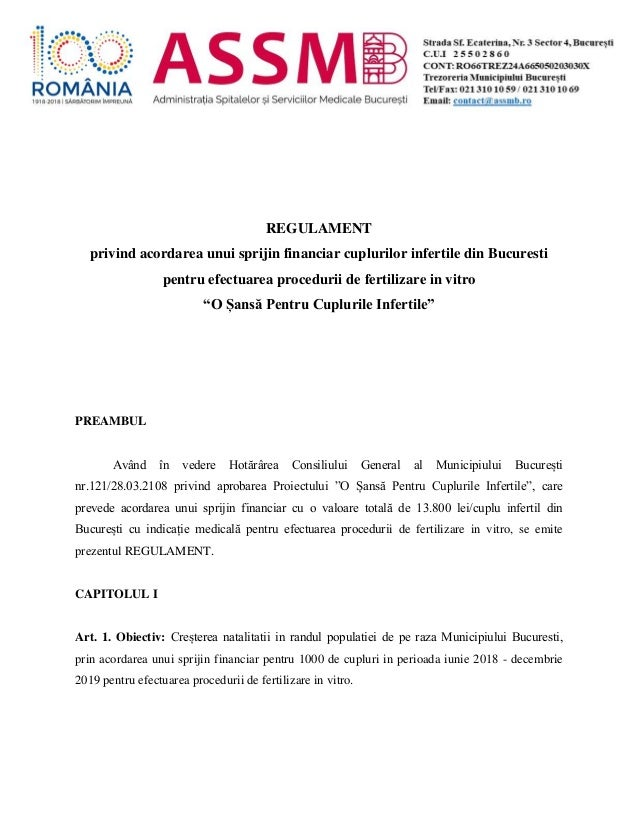 REGULAMENT privind acordarea unui sprijin financiar cuplurilor infertile din Bucuresti pentru efectuarea procedurii de fer...