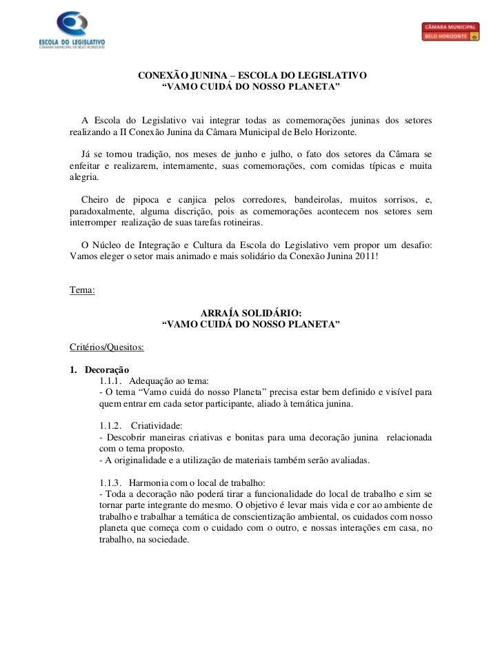 """CONEXÃO JUNINA – ESCOLA DO LEGISLATIVO                    """"VAMO CUIDÁ DO NOSSO PLANETA""""   A Escola do Legislativo vai inte..."""