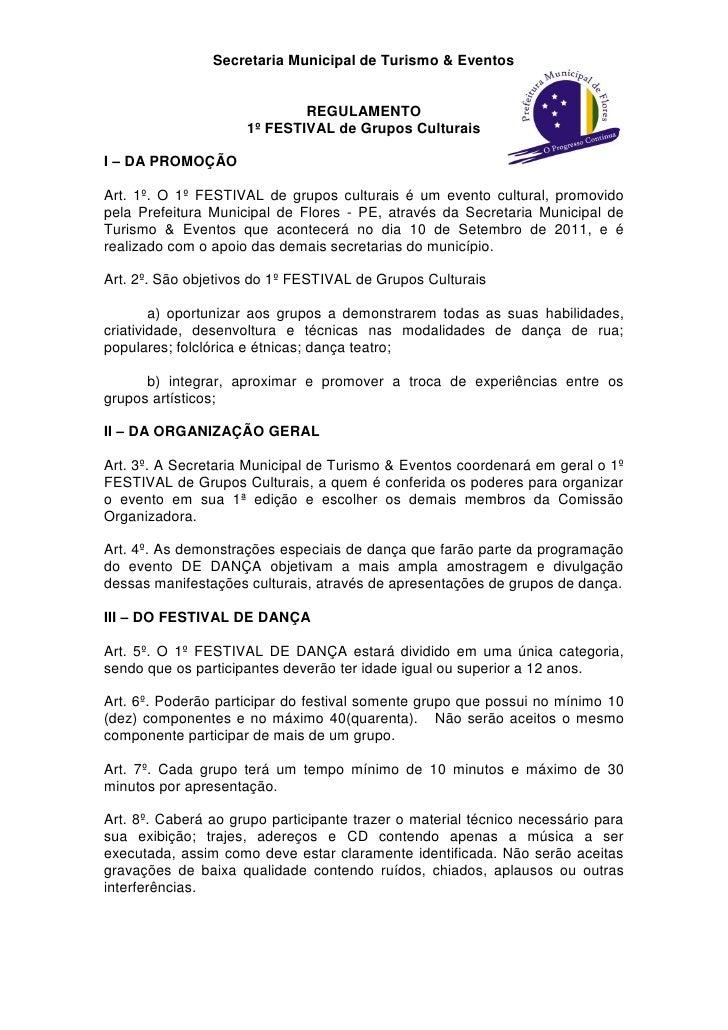 Secretaria Municipal de Turismo & Eventos                             REGULAMENTO                     1º FESTIVAL de Grupo...