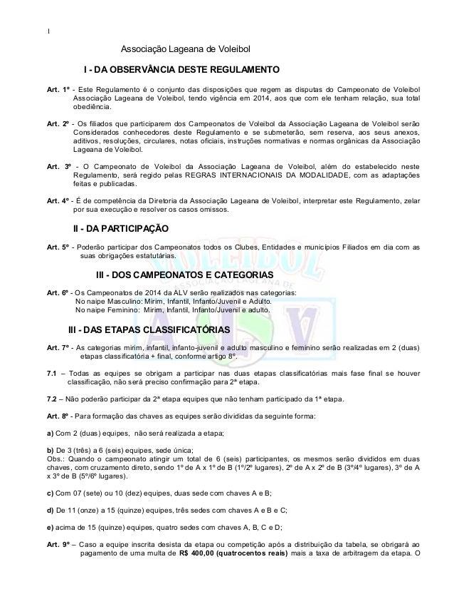 1 Associação Lageana de Voleibol I - DA OBSERVÂNCIA DESTE REGULAMENTO Art. 1º - Este Regulamento é o conjunto das disposiç...