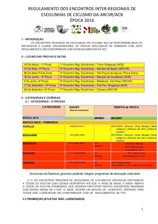 REGULAMENTO DOS ENCONTROS INTER-REGIONAIS DE ESCOLINHAS DE CICLISMO DA ARCVR/ACB ÉPOCA 2016 1 1 – INTRODUÇÃO OS ENCONTROS ...
