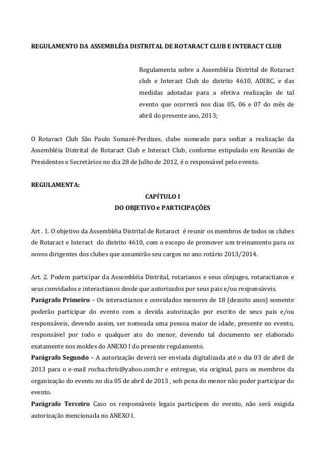 REGULAMENTO DA ASSEMBLÉIA DISTRITAL DE ROTARACT CLUB E INTERACT CLUB                                      Regulamenta sobr...