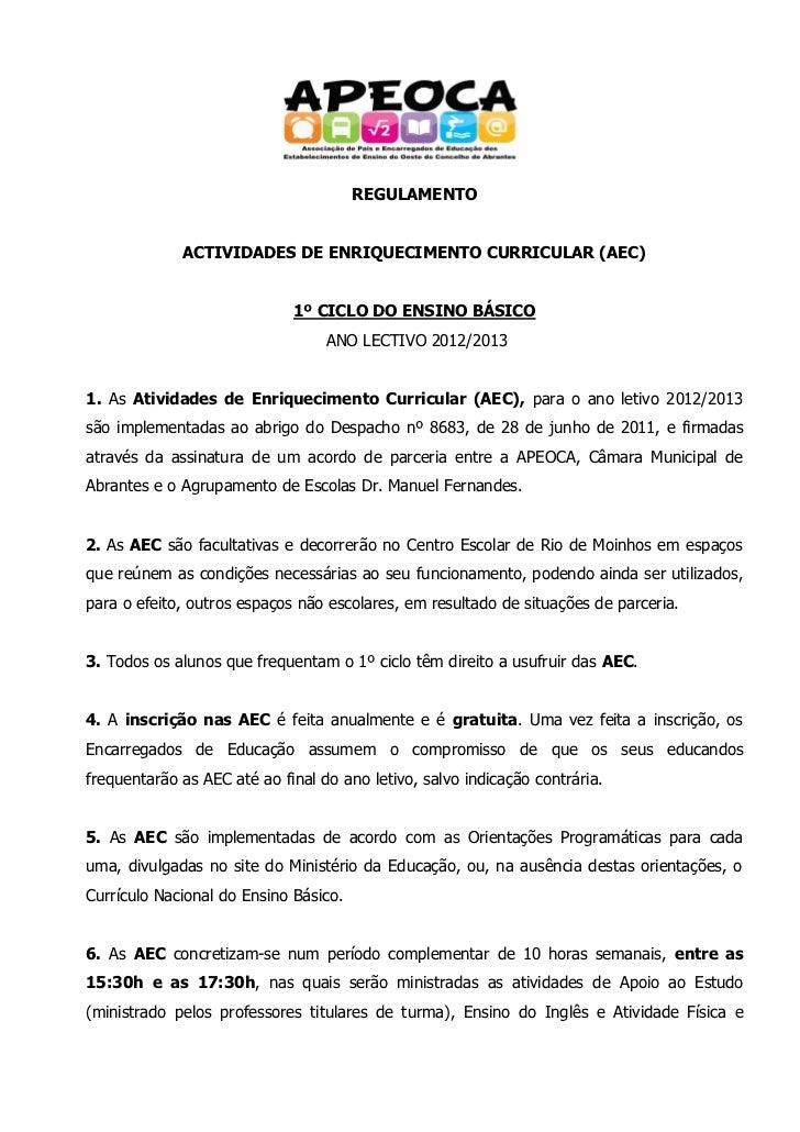 REGULAMENTO             ACTIVIDADES DE ENRIQUECIMENTO CURRICULAR (AEC)                             1º CICLO DO ENSINO BÁSI...