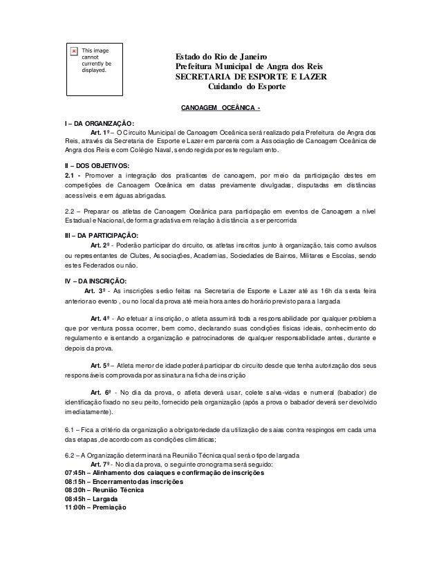 Estado do Rio de Janeiro Prefeitura Municipal de Angra dos Reis SECRETARIA DE ESPORTE E LAZER Cuidando do Esporte CANOAGEM...