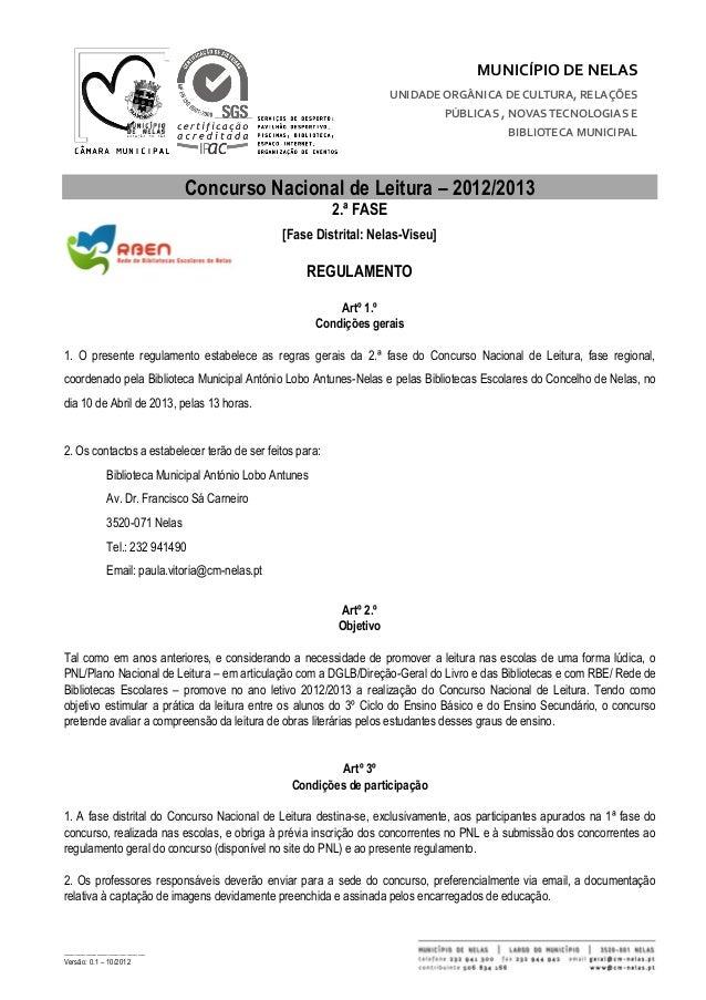 MUNICÍPIO DE NELAS                                                                      UNIDADE ORGÂNICA DE CULTURA, RELAÇ...