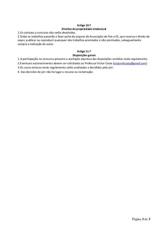 Regulamento concurso cartaz  Associação de Pais e EE da ESSMF Slide 3