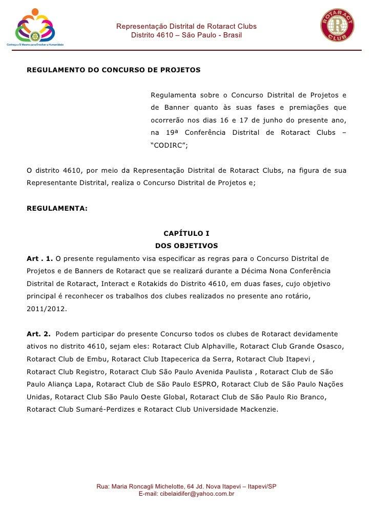 Representação Distrital de Rotaract Clubs                              Distrito 4610 – São Paulo - BrasilREGULAMENTO DO CO...