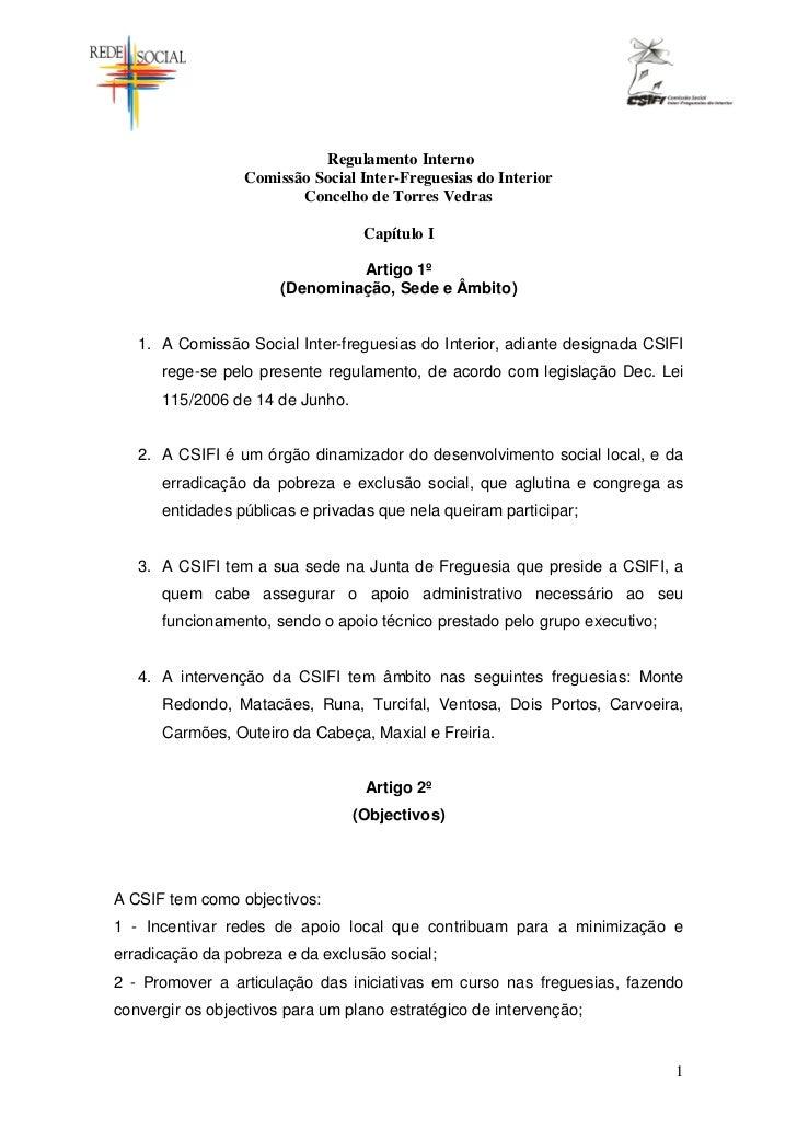 Regulamento Interno                  Comissão Social Inter-Freguesias do Interior                         Concelho de Torr...