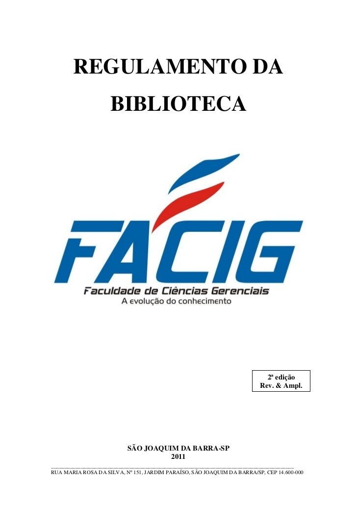 REGULAMENTO DA                     BIBLIOTECA                                                                            2...