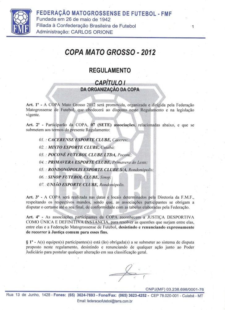Regulamento da Copa Mato Grosso 2012