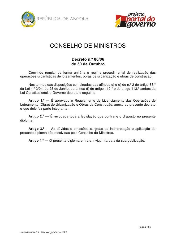 CONSELHO DE MINISTROS                                            Decreto n.º 80/06                                        ...