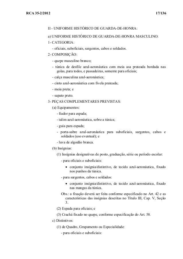 Regulamento de Uniformes para os Militares da Aeronáutica RUMAER (201… d9026925c4061