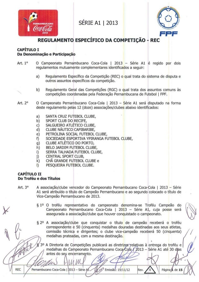 Regulamento do Campeonato Pernambucano 2013