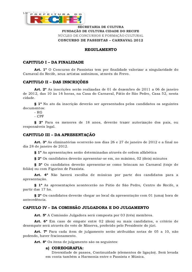 Regulamento do concurso de passistas 2012