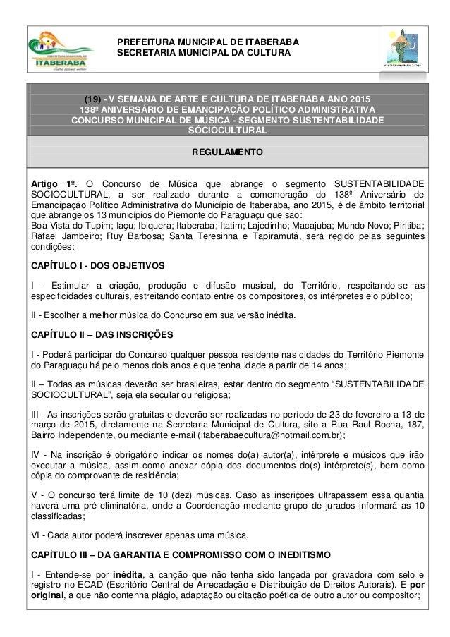 (19) - V SEMANA DE ARTE E CULTURA DE ITABERABA ANO 2015 138º ANIVERSÁRIO DE EMANCIPAÇÃO POLÍTICO ADMINISTRATIVA CONCURSO M...