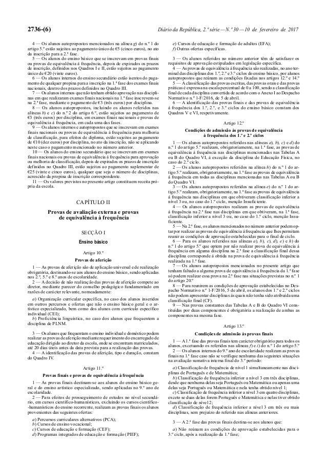 2736-(6) Diário da República, 2.ª série—N.º 30—10 de fevereiro de 2017 4 — Os alunos autopropostos mencionados na alínea g...